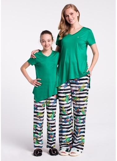 Dagi Kız Çocuk V Yaka Altı Dokuma Kısa Kollu Pijama Takımı Yeşil